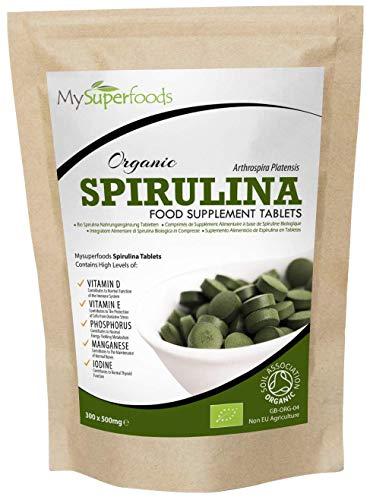 Tabletas de espirulina orgánica (300 tabletas x 500 mg), MySuperFoods, Envasadas con proteínas, calcio y vitaminas, Ricas en nutrientes, certificadas como un producto orgánico por la Soil Association