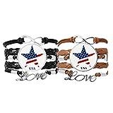 DIYthinker Star Modell Pavillon mit E‰Tats – einfarbig in Amerika Armband Liebe Paare Leder Seil