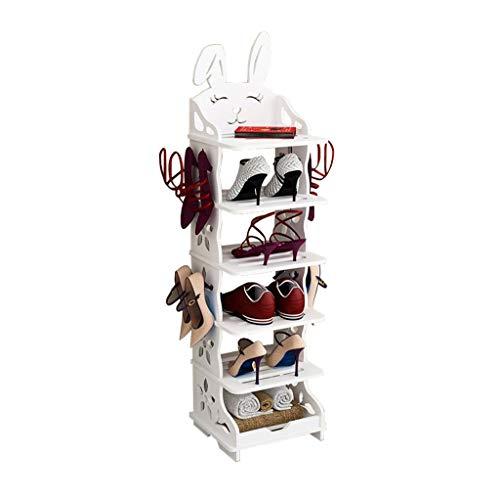 ZZYE Zapatero Zapato de Madera Mueble de Almacenamiento Mueble Multi-Tier Halloway Almacenamiento Blanco Simple High Tacones Versátil Creativo Conejo Forma Perchero Zapatero