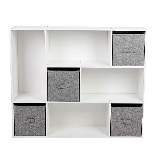 Boekenkast, kubussen Boekenkast Boekenplank met 8 Cubby planken 4 lades voor thuiskantoor