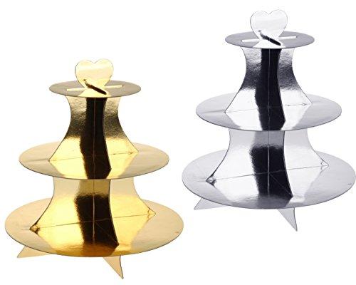 Unbekannt 2 Stück Cupcake/Muffin Ständer mit 3 Böden, Etagere 3 Stöckig aus Pappe in Gold und Silber (Gold und Silber)