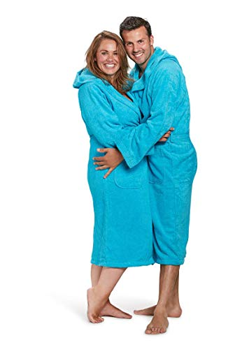 Badrock - Kapuzen-Bademantel mit Namen Bestickt - Aqua Blau - 100% Baumwolle - Herren und Damen - mit Stickerei (L/XL)
