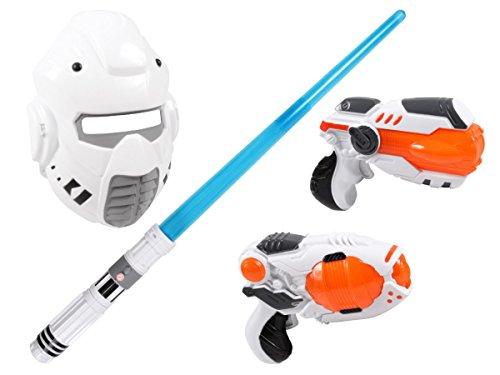 Alsino Laserschwert mit Lichteffekt Laserpistole YG009060 Set Maske Sternenkämpfer Sound Licht Space Wars, Variante wählen:YG009060 blau