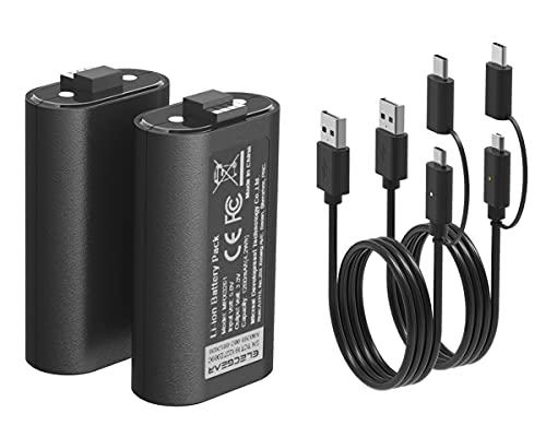 ElecGear Xboxコントローラー用リチウムイオンバッテリーパック、2個1200mAh Li-ion充電式交換用バッテリー電池、2本データおよび充電USBケーブル付き Xbox Series X/SそしてXbox Oneワイヤレスコントローラー用