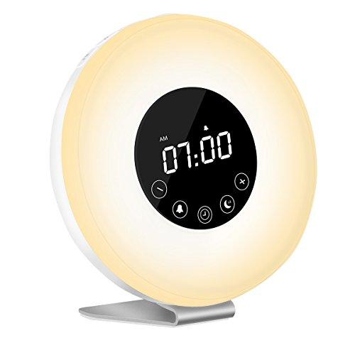 Wake Up Licht Lichtwecker, LED wecker, Kinderwecker, Radiowecker, FM Radio, Nachtlicht, Tageslichtwecker, mit zwei Alarmen, 7 Farbige LED Lichter, 6 Alarm Töne, 10 Helligkeitsstufen