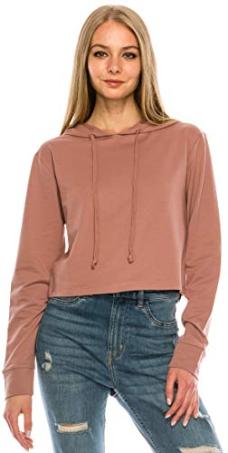 RENESEILLE Women's Crop Hoodie Sweatshirt - Casual French Terry Cropped Long Sleeve Workout Active Pullover Sweater Top FT4805 Mauve L