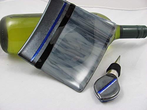 Wine Bottle Stopper & Dish - Unique Glass Fused - Trendy grey tones