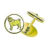 黄色の犬の漫画イラストパターン スタッズビジネスシャツメタルカフリンクスゴールド