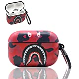 Airpod pro Case,Shark Teeth Soft Silicone Camouflage Airpods pro Case, Fashion Design Case for Airpods pro, Cute Cartoon Camo Case Shockproof Protective Cover Skin for Men Boys Girls(Red)