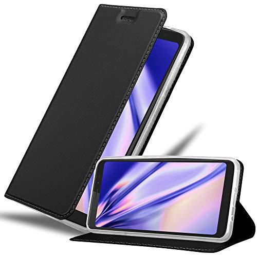 Cadorabo Hülle für WIKO View XL in Classy SCHWARZ - Handyhülle mit Magnetverschluss, Standfunktion & Kartenfach - Hülle Cover Schutzhülle Etui Tasche Book Klapp Style