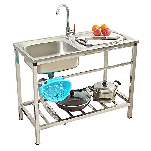 Fregadero de acero inoxidable, lavabo independiente con grifo de agua caliente fría Catering solo fregadero para lavandería, patio trasero, garaje al aire libre/Silver / 83cm