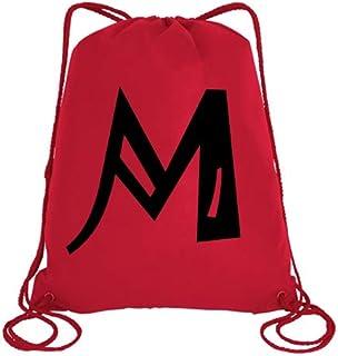 IMPRESS Drawstring Sports Backpack Red with Joker Letter M