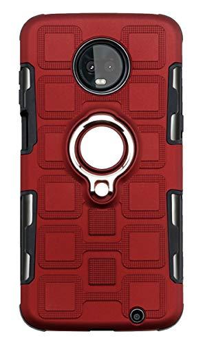 Grandcaser Capa para Moto Z3 Play ultrafina 2 em 1 camada dupla híbrida à prova de choque 360° suporte flip capa de proteção magnética para Motorola Moto Z3 Play 6 polegadas – Vermelho