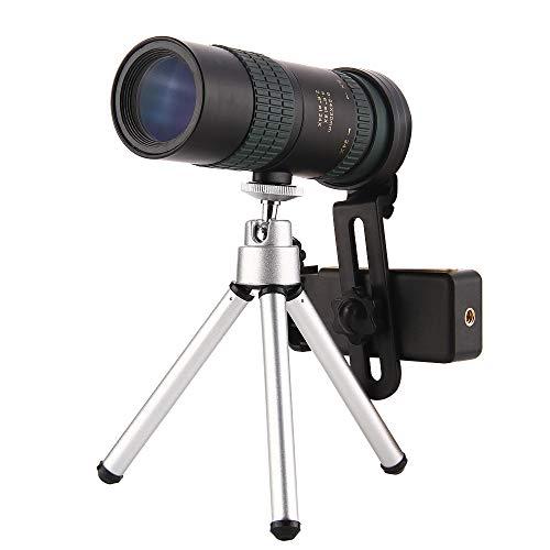 GEERTOP - Telescopio monocular, retráctil compacto monocular, de alta definición, telescopio de bolsillo con soporte y trípode para observación de aves, caza, pesca, senderismo, acampada