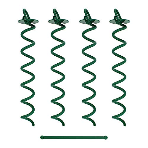7Penn Spiral Ground Anchors 16 Inch Green Tent Stakes Heavy Duty Ground Screw Anchor Twist Stakes 4 Pack
