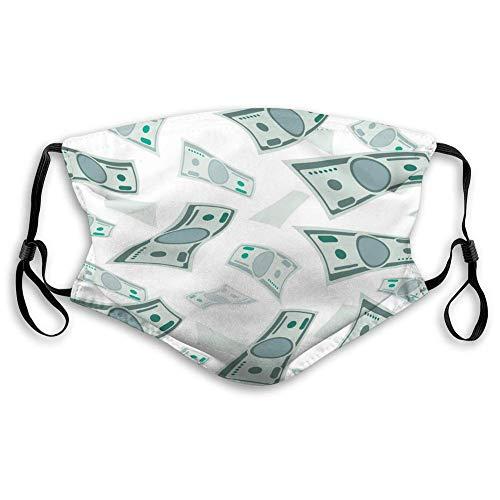 BCVHGD Atemschutz Luftstaub Gesicht Mundschutz Fallendes Geld USA Banknoten Banknoten Sicherheitsabdeckungen
