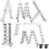 Froadp 550cm Escalera de Andamio en Aluminio Multifunción Plegable Escalera 6 en 1 Andamio con 2 Elevación Plataformas Cargable hasta 150KG(4x5 échelons)
