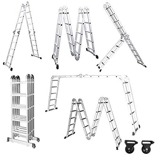 Froadp 550cm Escalera de Andamio en Aluminio Multifunción Plegable Escalera 6 en...