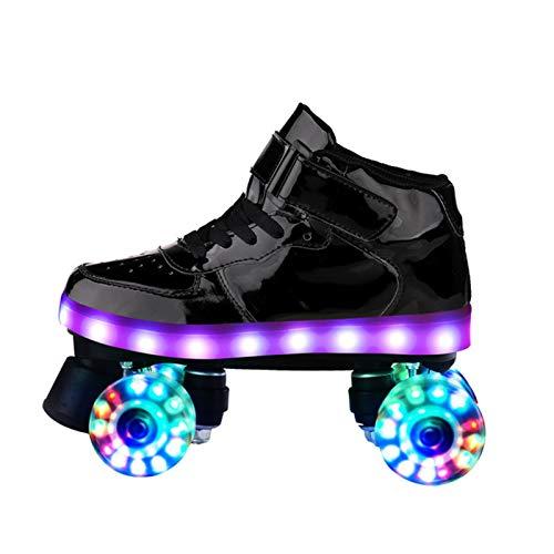 HHMGYH Rollschuhe Damen, Rollerskates Mädchen Roller Skates mit LED-Licht Double Line Skates 4 Wheels Two Line Skating Schuhe für Erwachsene,Schwarz,40
