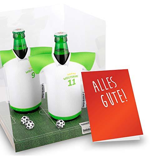 vereins-Trikot-kühler Away für VFL Wolfsburg Fans | 2er Geschenk-Box-Edition| 2X Trikots | Fußball Fanartikel Jersey Bierkühler by Ligakakao