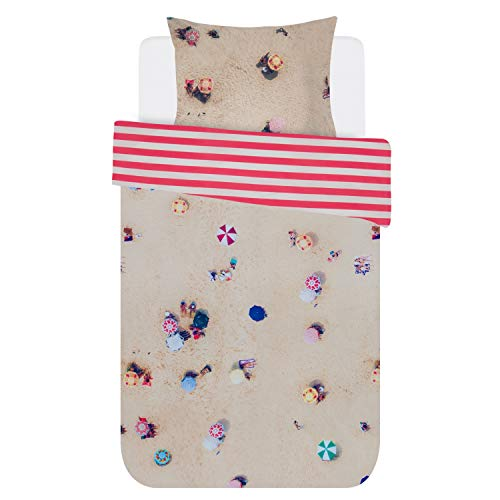 Covers & Co Cabana Parure de lit réversible en coton renforcé Rayures 135 x 200 cm