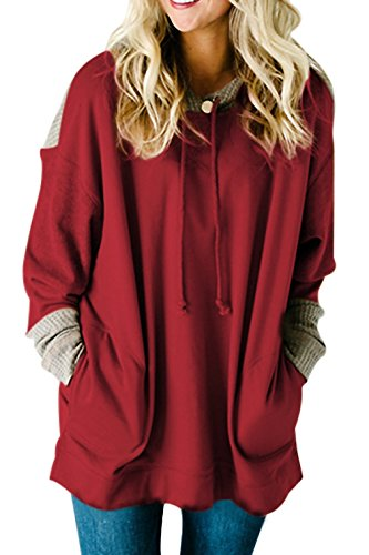 AlvaQ Women's Winter Fashion 2017 Clothing Oversize Hoodie Sweatshirts for Women Pockets Plus Size Juniors Ladies Tunics Tops Red