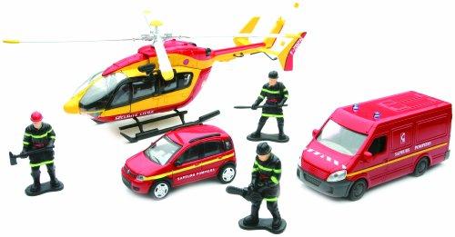 New Ray - 22095 - Véhicule Die Cast Secours Urbain Hélicoptère + 2 Véhicules - Echelle 1/43