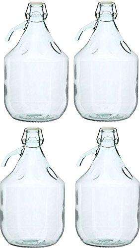 Unbekannt 4 STÜCK 5L Gärballon mit BÜGELVERSCHLUSS Flasche Glasballon Weinballon Bügelflasche Glasflasche