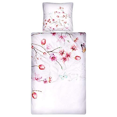 Aminata Kids Premium Bettwäsche 135 x 200 Kirschblüte Blume Baumwolle mit Reißverschluss, Blumen-Motiv ist weich, kuschelig, weiß rot, Rose zarte Farben