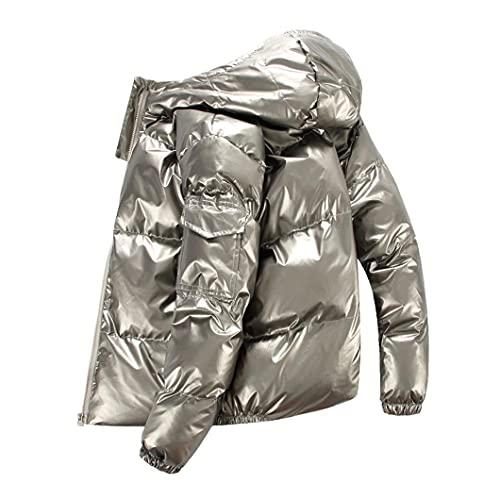 Hombres de Invierno Streetwear Thick Parka Hip Hop Cotton-Pedded Chaqueta Outwear Abrigos Gray XL