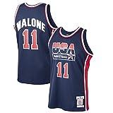 XXJJ Camiseta de baloncesto para hombre, diseño de Karl Malóne, número 11, equipo de ensueño de Estados Unidos 1992, colección de fans y el mejor regalo para hombres, azul