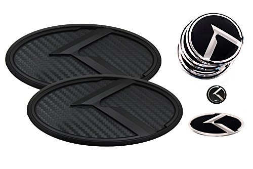 3D K Logo Emblem Carbon Fiber & Black Edition Set 8pc Front + Rear + Steering Wheel + Wheel Cap + Mini Sticker (Fit: KIA 2011-2020 Optima K5)