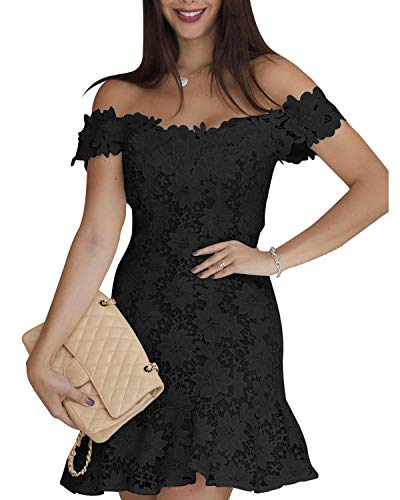 Auxo Women's Off Shoulder Floral Lace Dress Short Sleeve Cocktail Bridesmaid Wedding Evening Party Swing Mini Dress 01-Black Medium