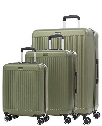 imome Fresh Set de Maletas Verdes Cierre de Combinación 55/67/77 cm Expandibles | Trolley de Viaje Ultra Ligeras | Maletas de Viaje Rígidas 100% ABS Reforzadas, Antiarañazos