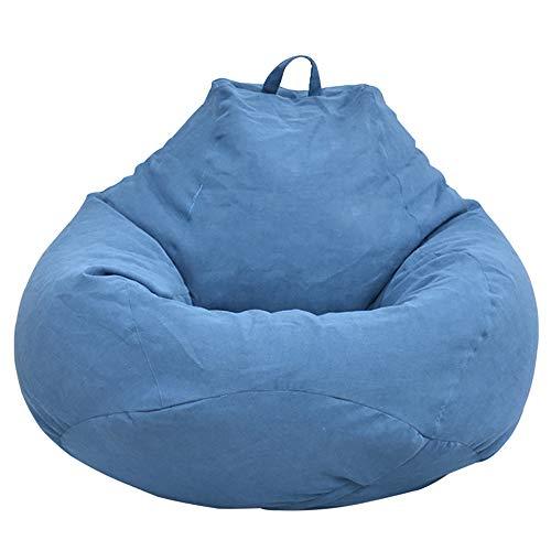 Puf de pera para adultos y niños, diseño clásico, puf de pera para interior y exterior, puf sin relleno, grande, funda puf de pera, color azul