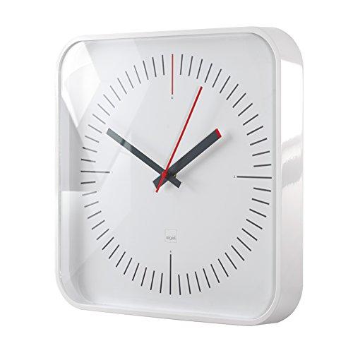 Sigel WU121 moderne, große Design-Wanduhr, Modell litho, weiß, 35x35 cm, reddot design award 2014 Gewinner