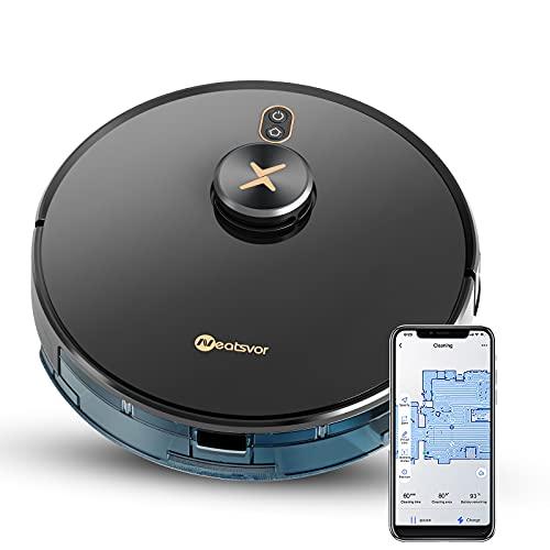 Robot Aspirador y Fregasuelos,Robot Aspirador inalámbrico LDS con escaneo láser, succión de 6000pa y Robot Aspirador de 5200 mA. Robot Aspirador de Pelo de Animal, aplicación, Alexa y Google Home