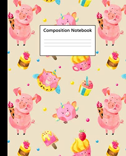 Composition Notebook: Cute Wide Ruled Composition Book for School, College and University. Workbook with 100 Blank Pages, 7.5x9.25 in. Funny Flying Unicorn Piggy