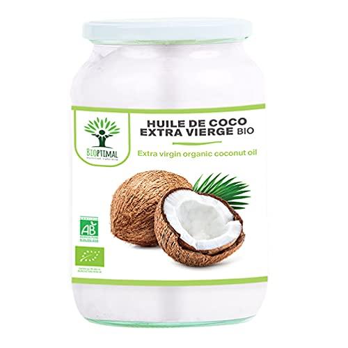 Huile de Coco Bio - Bioptimal - Huile de Noix de Coco Extra Vierge Naturelle - Pour Cheveux Corps Peau Visage Lèvres - Cuisson des Aliments - Sri Lanka - Certifié Biologique par Ecocert - 500 ml