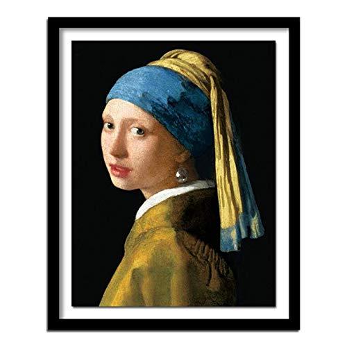 Collar de diamantes de imitación con diseño de chica Vermeer con perlas y diamantes de imitación cuadrados