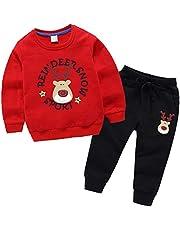 amropi Niños Bebes Conjuntos Chándales de Deporte Reno Impreso Sudadera sin Capucha y Trotar Pantalones 2 Piezas Traje para 0-7 años