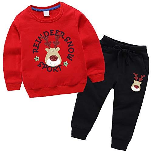 amropi Niños Bebes Conjuntos Chándales de Deporte Reno Impreso Sudadera sin Capucha y Trotar Pantalones 2 Piezas Traje (Negro Rojo,18-24 Meses)