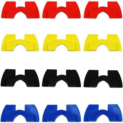 Biluer Gummi vibrationsspjäll, 12 st skotertillbehör vibration dämpare packning scooter reservdel för elscooter (blå, svart, röd, gul)