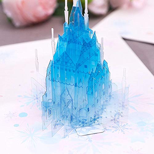 Frozen 3D Cards With Envelope, Mother's Day Pop Up Card, Blue castle Popup Greeting Cards for Birthday Anniversary Wedding Valentines Day Wedding, Toshine