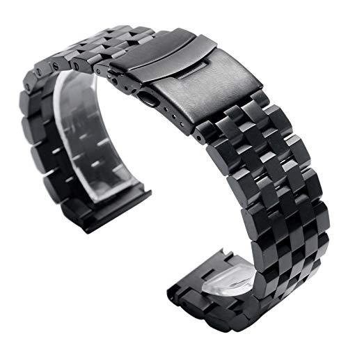WNFYES 22mm 20mm Plata/Negro De Acero Inoxidable Enlace Reloj Sólido Banda Correa Plegable con Seguridad Los Hombres De Reemplazo Relojes Correas (Color : Black, Size : 20mm)