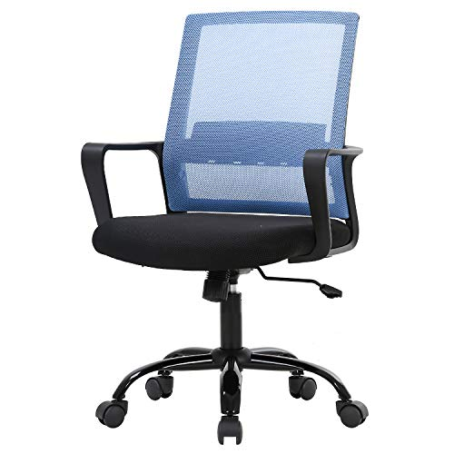 Office Chair Ergonomic Desk Task Chair Mesh Computer Chair Mid-Back Mesh Home Office Swivel Chair Modern Executive Chair with Wheels Armrests Lumbar Support (Blue)