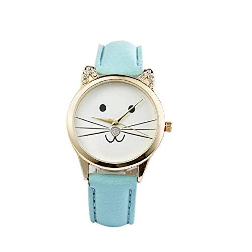 Sannysis® Diamante di modo Lovely Cats Viso Ecopelle orologio al quarzo (Blu)
