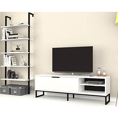 Mueble de pared compuesto por puerta de TV con estantería de pared blanca