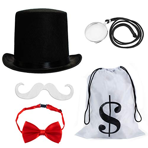 Tigerdoe Rich Uncle Costume Accessories - Board Game Costume - Costume Money Bags - Rich Man Top Hat - 5 Pc