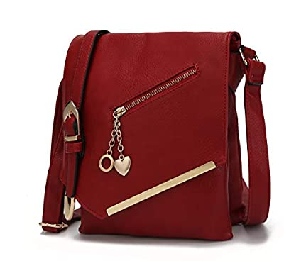Mia K Collection Crossbody Bag for Women – Shoulder Strap – PU Leather Handbag Medium Ladies Messenger Side Purse Red
